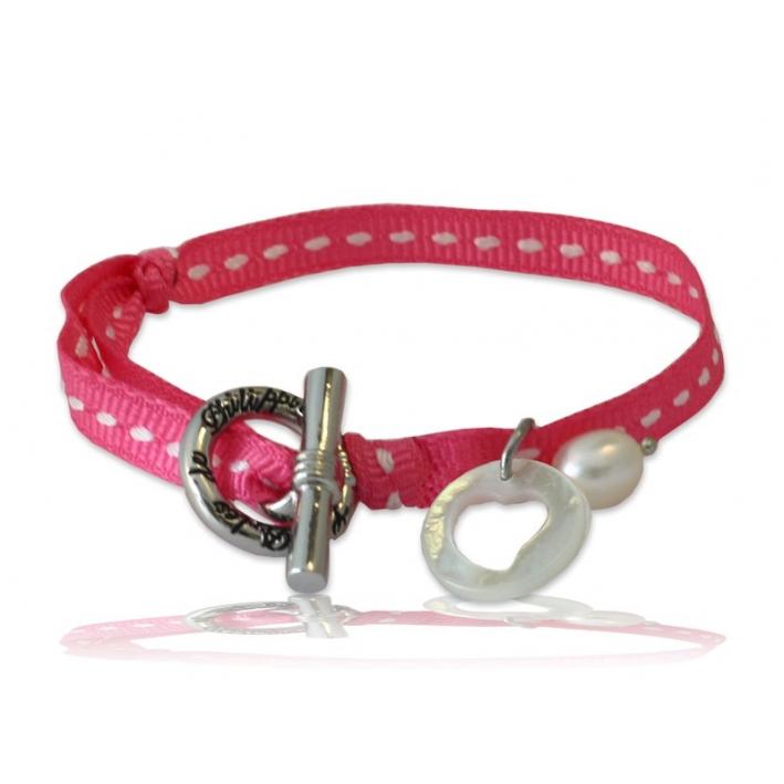 Bracelet Breloque Nacre sur sellier rose