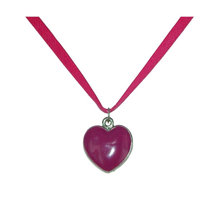 Pendentif coeur en émail rose à croquer