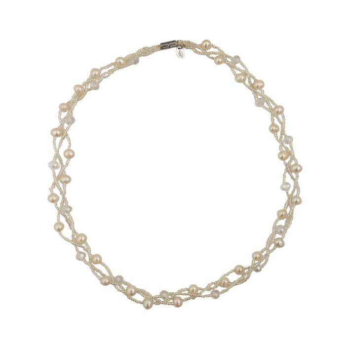 Collier 3 rangs perles de culture et de rocaille blanches