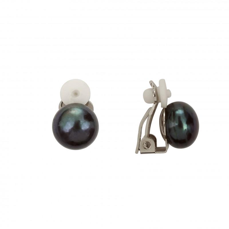 boucles d 39 oreilles clip perle noire. Black Bedroom Furniture Sets. Home Design Ideas