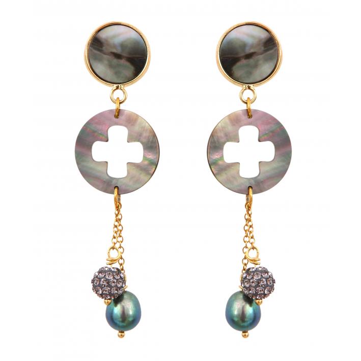 Boucles d'oreilles clip trèfle nacre perle et shamballa noirs