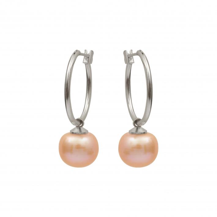 Boucles d'oreilles créoles perle de culture pêche