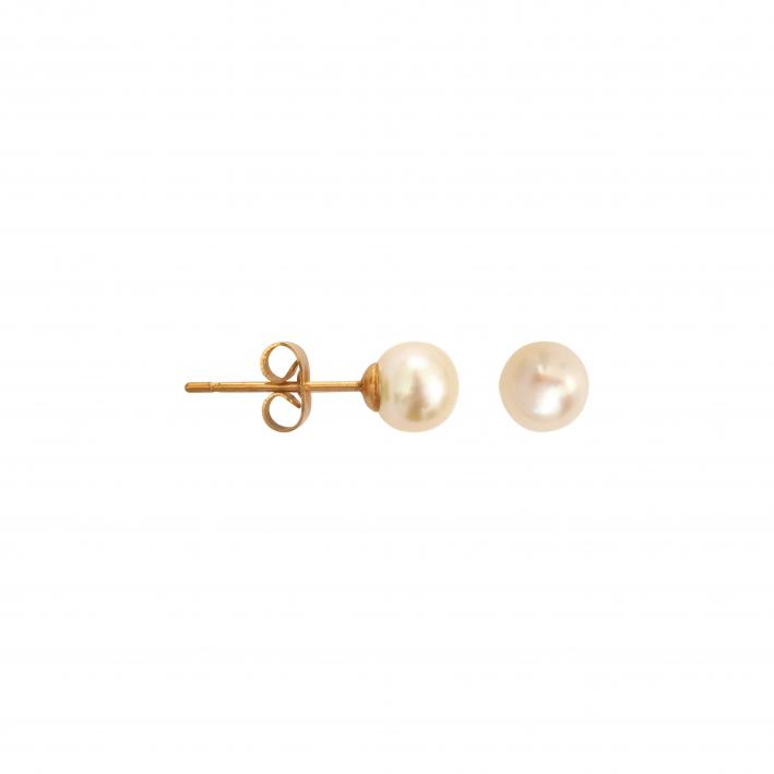 Boucles d'oreilles puces une perle de culture blanche petite