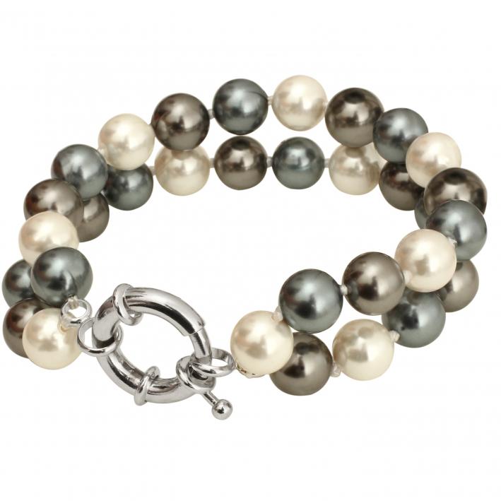 Bracelet 2 rangs de perles de nacre gris