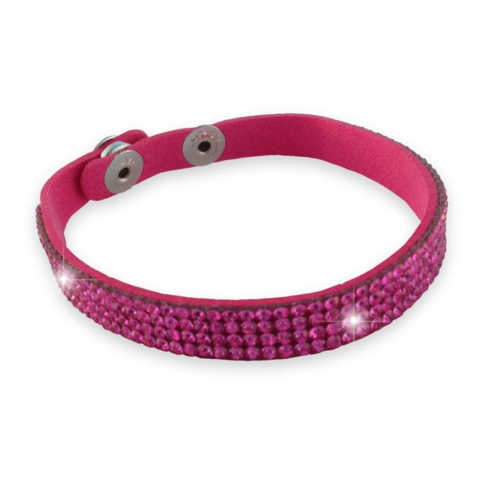 Bracelet simple  tour strass rose sur cuir assorti