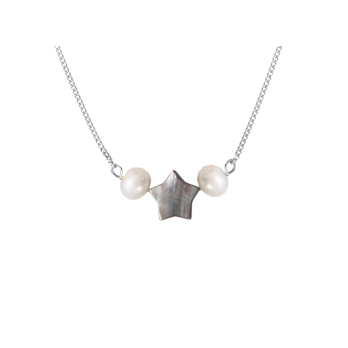 Collier étoile de nacre naturelle noire entourée de deux perles de culture blanches