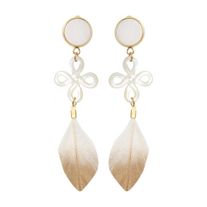 Boucles d'oreilles clip Brandebourg filigrané nacre et plume blanche