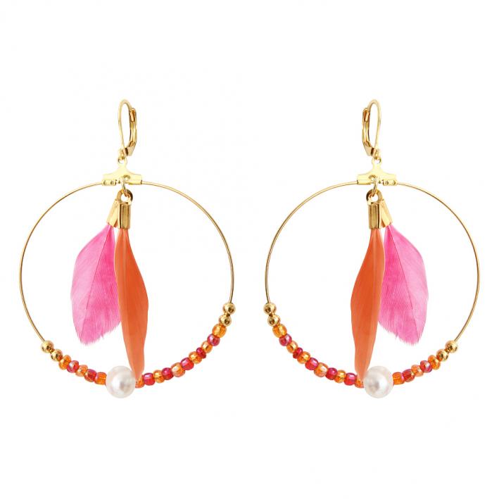 Boucles d'oreilles créoles duo de plumes orange et rose