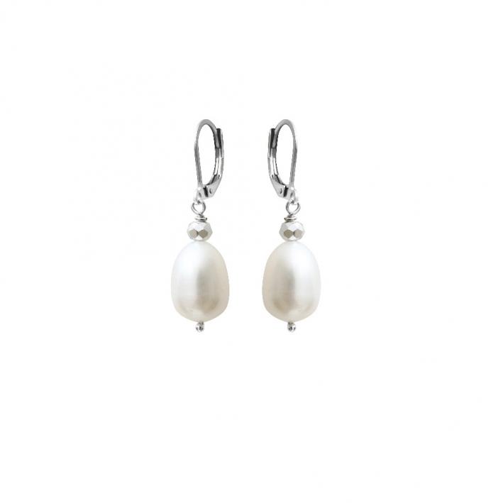 Boucles d'oreilles perles de culture blanches et cristal facetté