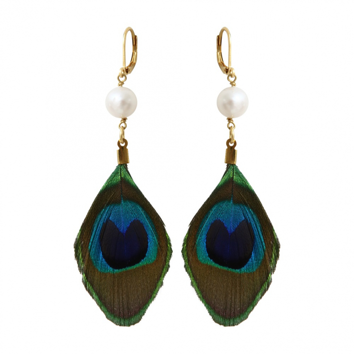 Boucles d'oreilles plume de paon et perle de culture blanche
