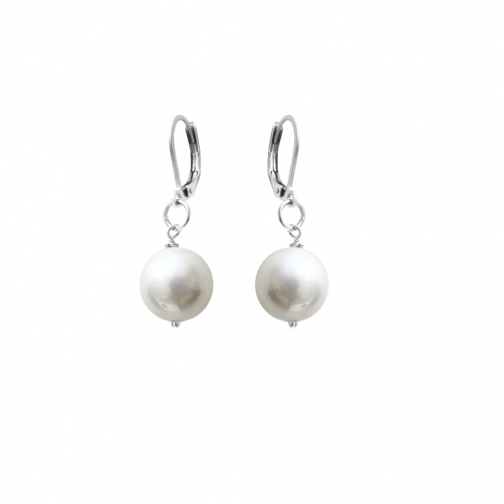 Boucles d'oreilles dormeuses perles de nacre blanches