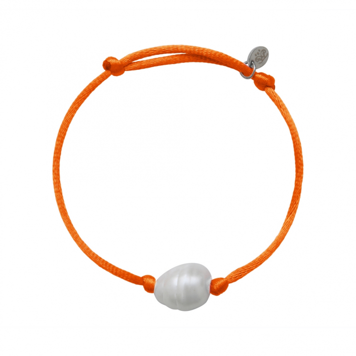 Bracelet une perle sur cordon satiné orange
