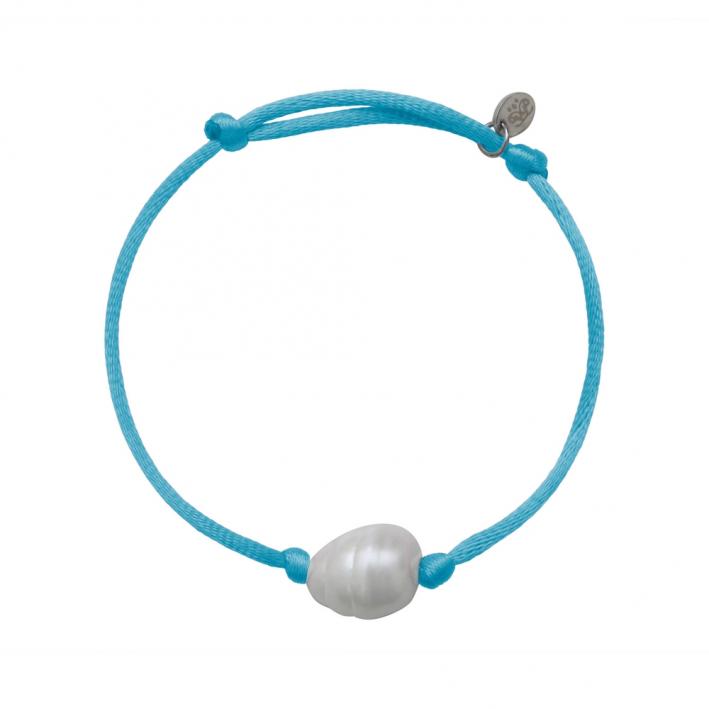 Bracelet une perle sur cordon satiné turquoise