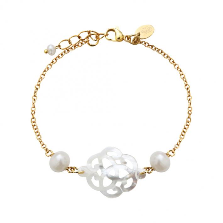 Bracelet filigrane de nacre d'eau de mer sur chaîne dorée