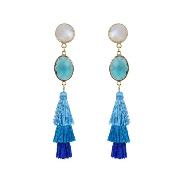 Boucles d'oreilles clip trio de pompons bleus et cristal