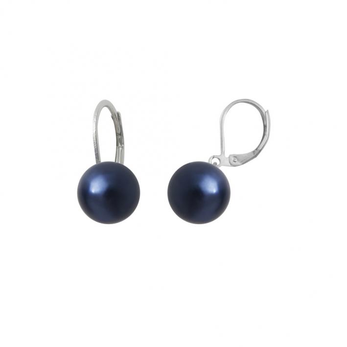 Boucles d'oreilles dormeuses perles de nacre bleues jais