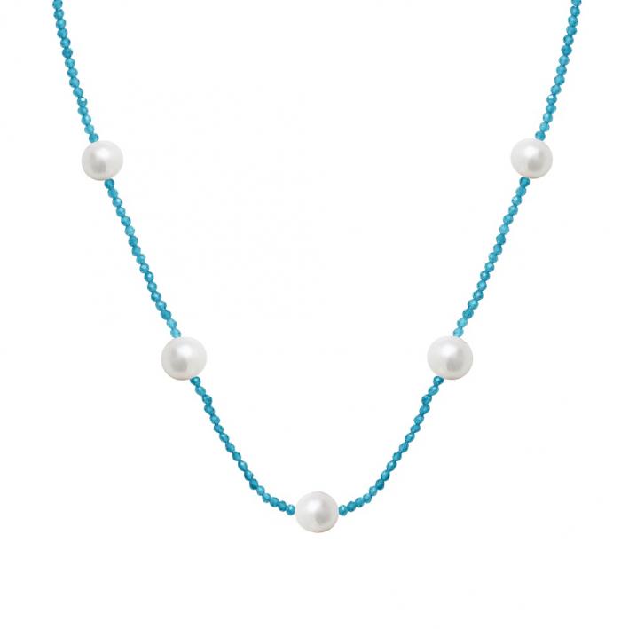 Collier cristal étincelant bleu turquoise et perles