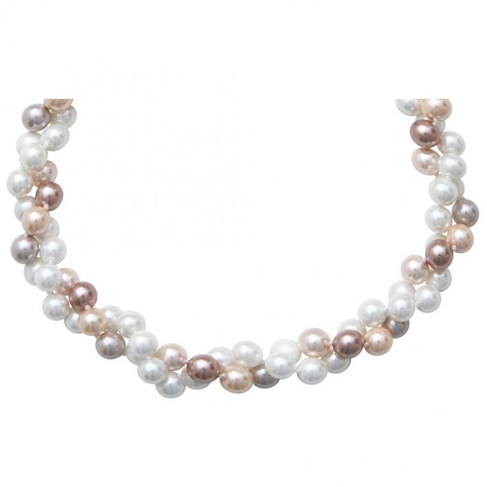 Collier deux rangs de perles de nacre camaïeu de blanc et rose