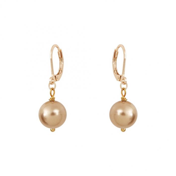 Boucles d'oreilles dormeuses perles de nacre dorées