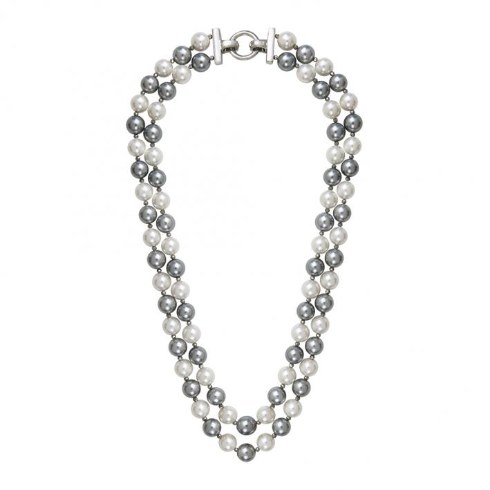Collier double rang perles nacre bicolore et hématite