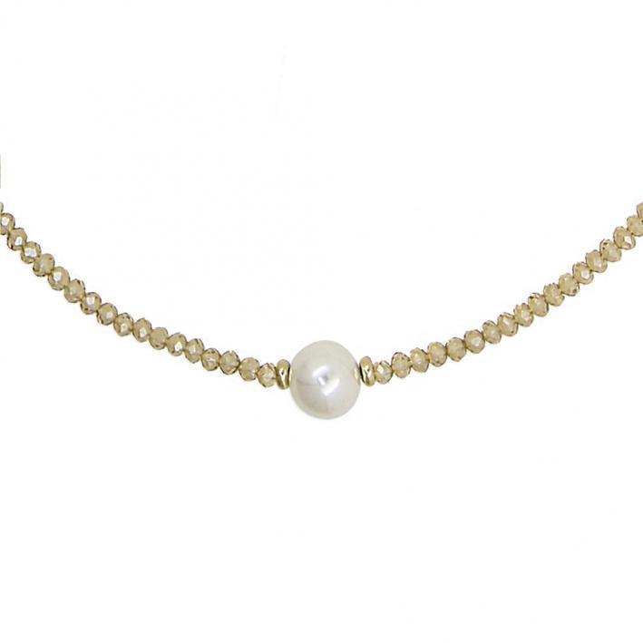 Collier choker cristal doré et perle blanche