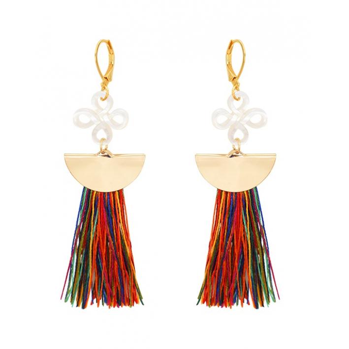 Boucles d'oreilles demi lune pompon multicolore et filigrane