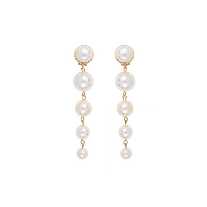 Boucles d'oreilles Clips cascade de perles de nacre blanche