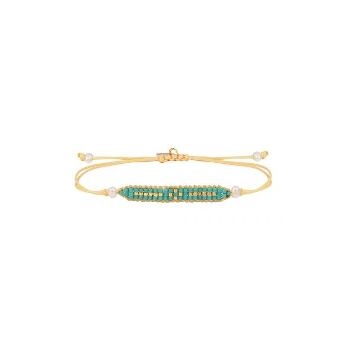 Bracelet coulissant perles de rocailles bleues et dorées tissées