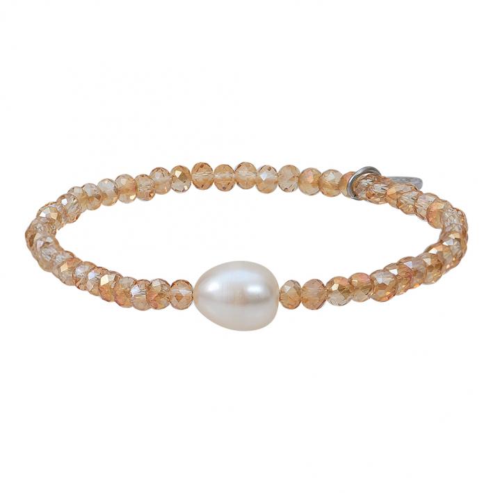 Bracelet duo de perles scintillantes dorées et perle