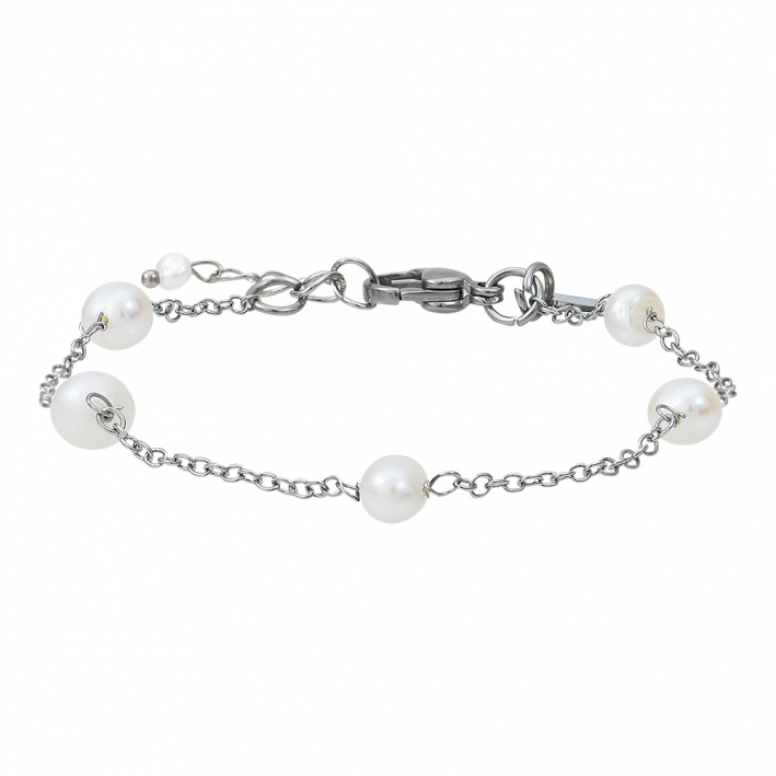 Bracelet petites perles de culture blanches sur chaine