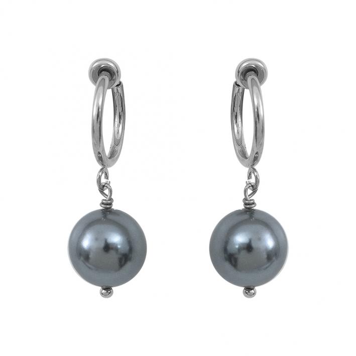 Boucles d'oreilles Clips perles de nacre grise sur argenté