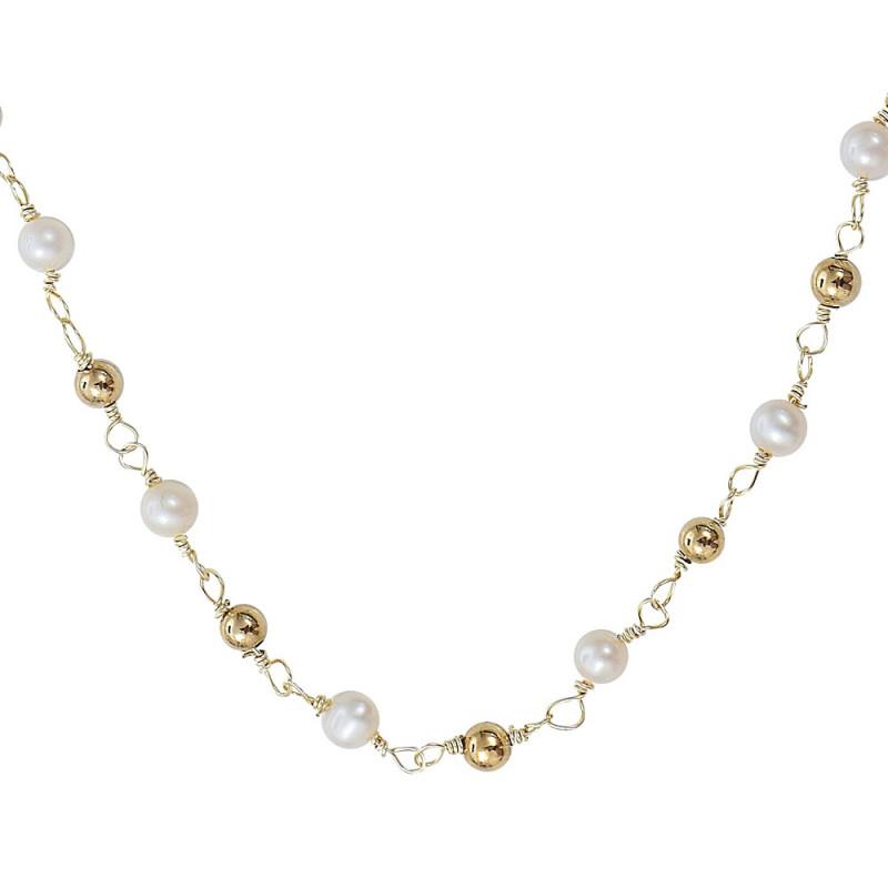 Collier de perles de culture blanche et dore