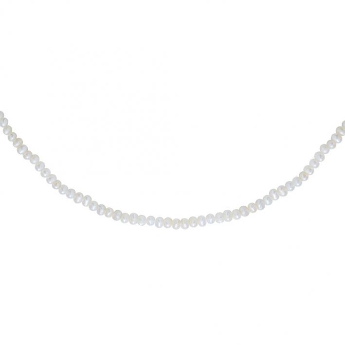 Collier véritables petites perles de culture blanches sur doré