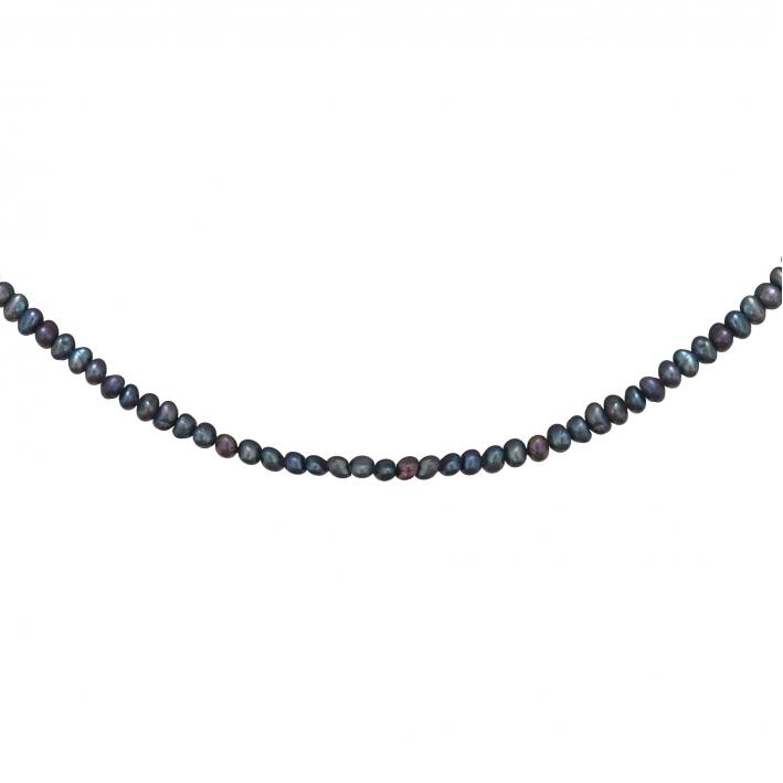 Collier véritables petites perles de culture noires sur doré