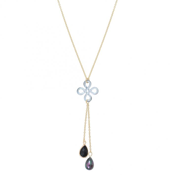Collier trèfle de nacre noire et pampilles cristal et perle noires
