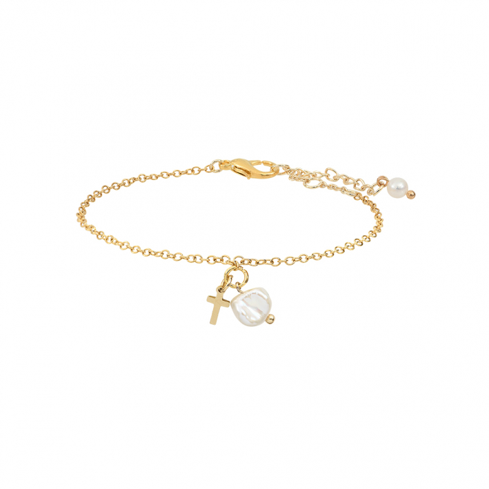 Bracelet pampilles croix et perles très baroques
