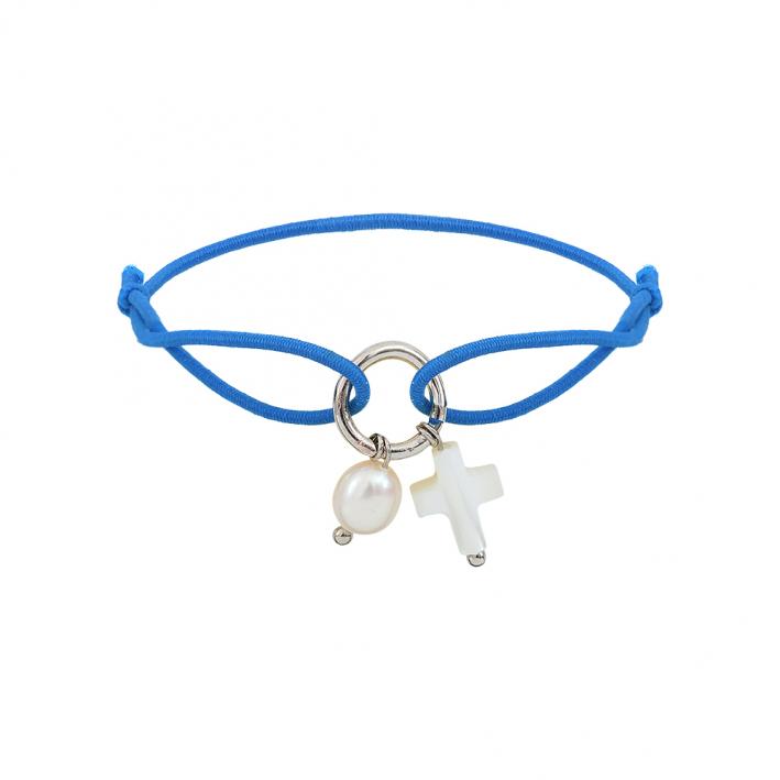 Bracelet breloques croix et perle sur élastique bleu