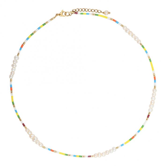Collier perles de rocaille multico jaunes et petites perles
