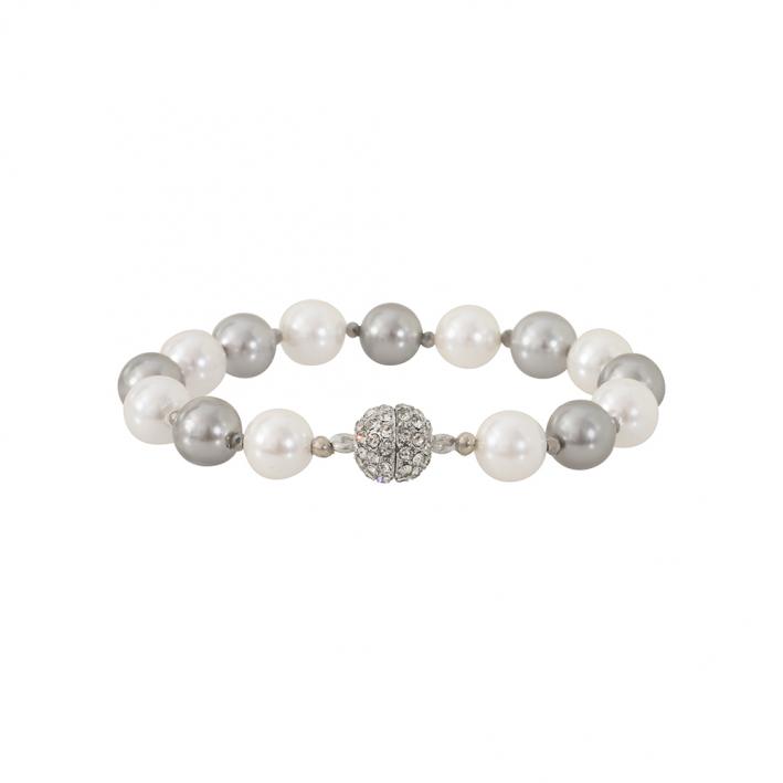 Bracelet duo de perles nacre et fermoir shamballa